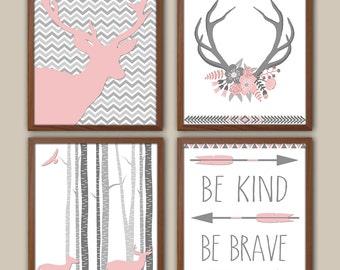 Baby Girl Nursery Art - Tribal Nursery Decor - Chevron - Woodland Nursery - Girls Wall Art  - Flowers - Deer - Set Of 4 Prints