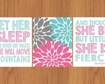 Let Her Sleep For When She Wakes And Though She Be But Little She is Fierce Pink Aqua Grey Nursery Wall Art Flower Burst set of Three (74)