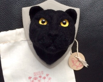 Needle felt cat. Felted Panther faux taxidermy. Needle felted animal. Felted animal