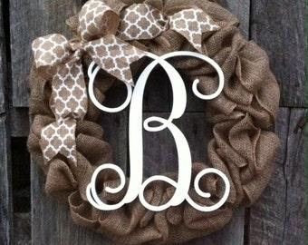 burlap wreath monogram door wreath initial wreath, burlap monogram wreath,summer wreath, spring wreath, letter door hanger, wedding gift