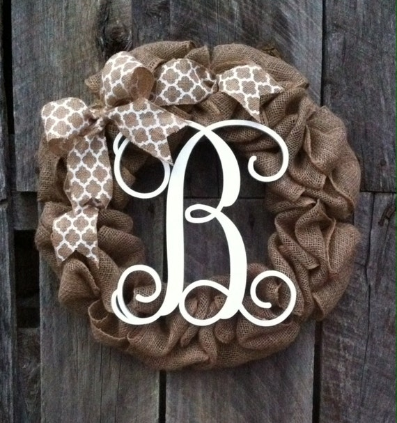 Burlap Wreath Monogram Door Wreath Initial Wreath Burlap