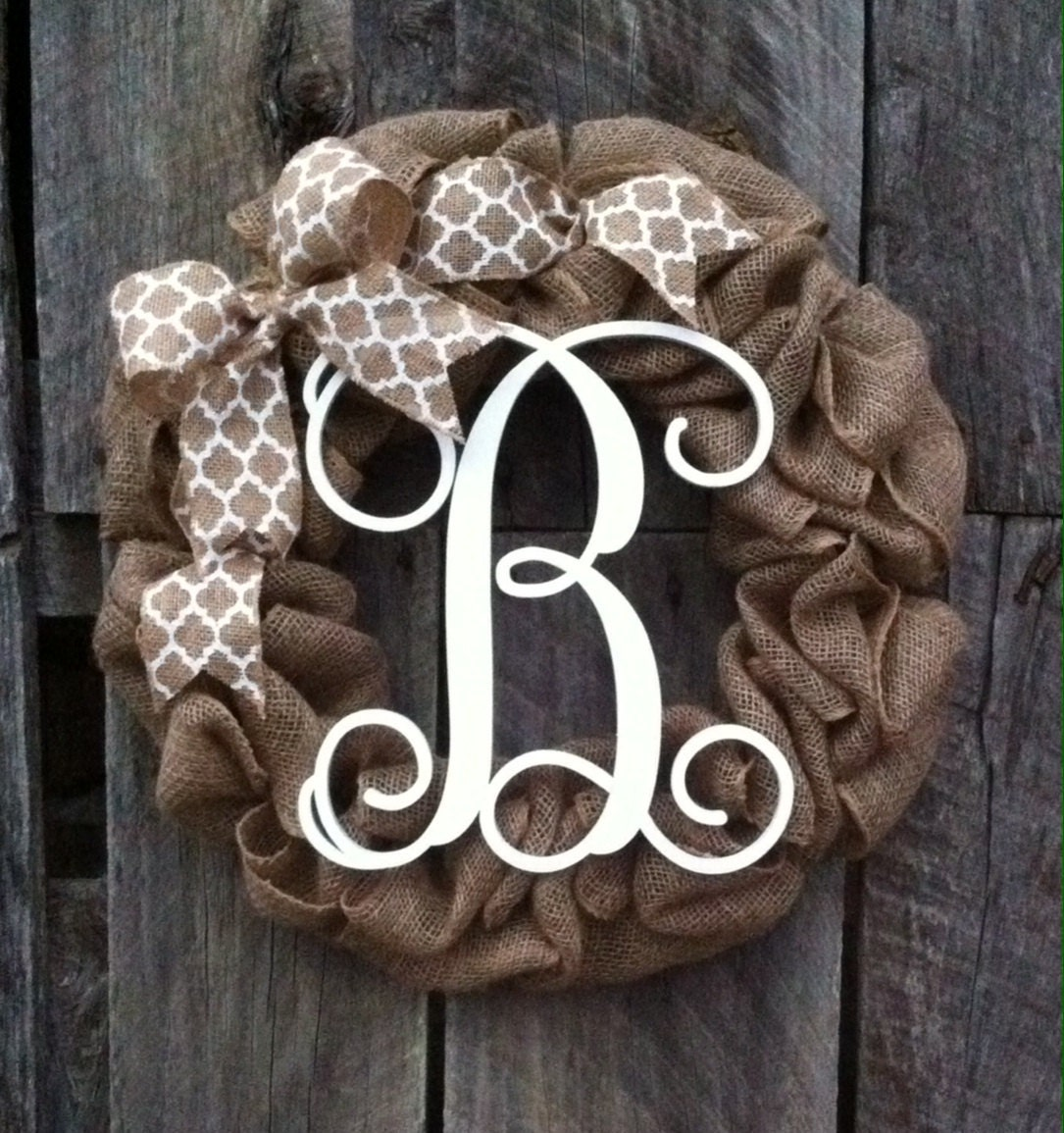 Burlap Wreath Monogram Door Wreath Initial Wreath Burlap
