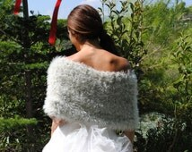 wedding shawl, handmade pale sage bridal wrap, capelet, hand-knit faux fur shrug, knit wedding wrap, formal bolero, wedding cape, sweater