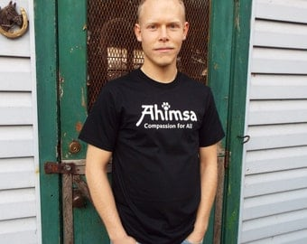 Ahimsa - Paw - Compassion for All - Men's T-Shirt