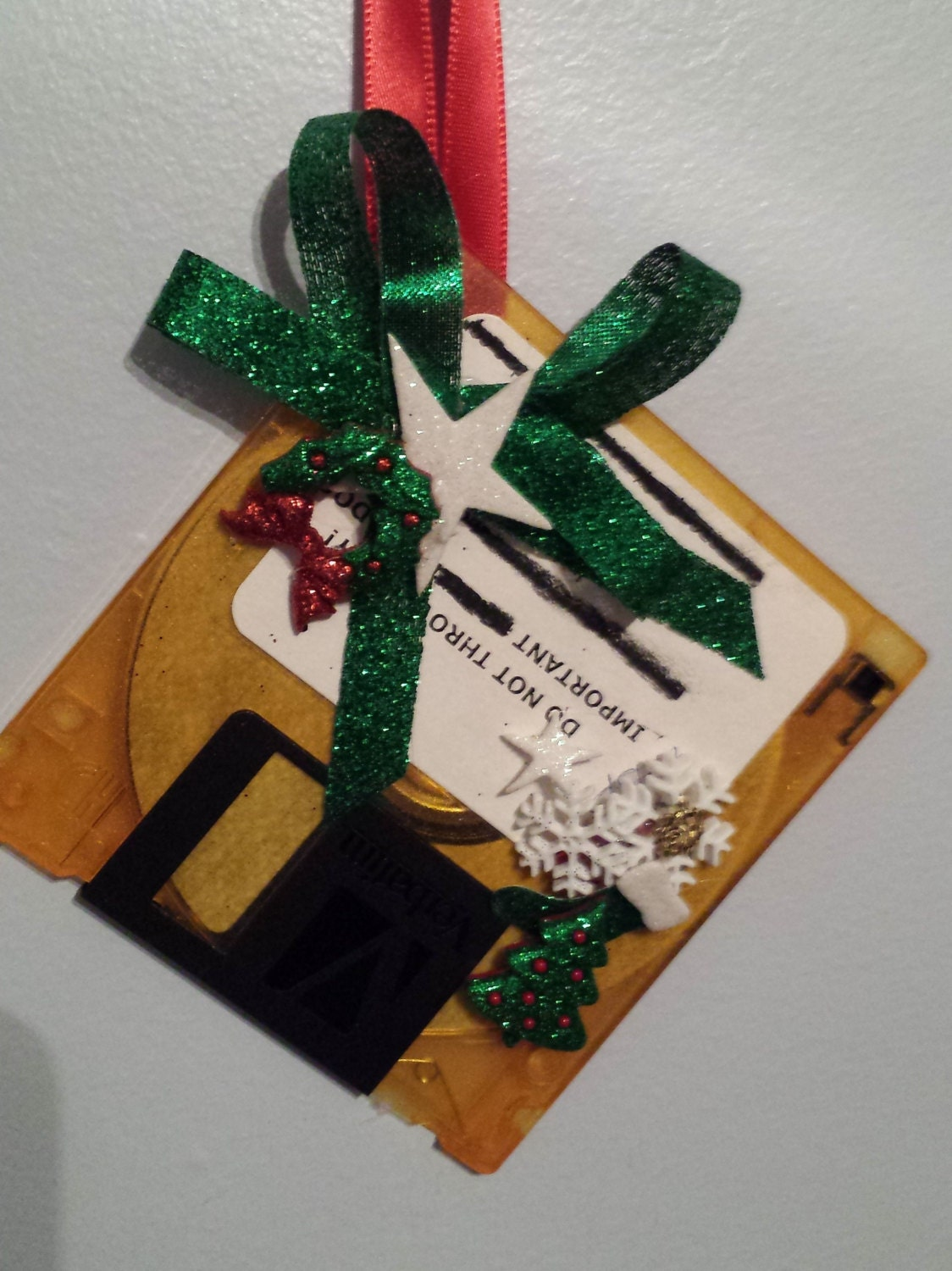 GEEK Christmas Ornament - Computer Floppy Disk with Mini Christmas Tree & Wreath
