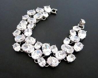 Super Chunky Wedding bracelet, Statement Bridal bracelet, Crystal bracelet, Cubic zirconia bracelet