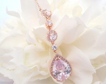 Rose gold Bridal necklace, Wedding necklace, Bridesmaid necklace, Crystal wedding jewelry, Rose gold jewelry