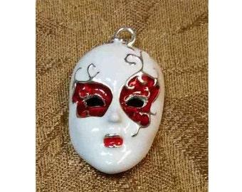 Mardi Gras Mask Pendant Silvertone Enameled