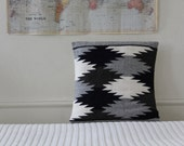 Throw Pillow: handmade lama wool in grey geometry, modern home decor