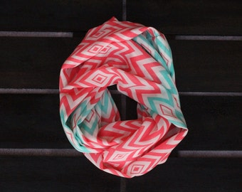 Kid Coral and Mint Chevron Tribal Infinity Scarf
