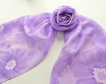 "Hand painted silk scarf. Handpainted silk scarf. Purple silk scarf with purple flowers and leaves. 14 x 71"", 35 x 180 cm."