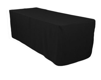 Wedding Black Linen Tablecloth 6 Feet Fitted Polyester Tablecloth, Decoration For Big Wedding Banquet Tables Or Big Party Banquet Tables