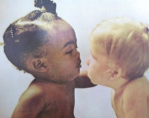Toddlers Kissing Vintage 70's poster of Cute Afro-American and White Children!  Peace Brother!