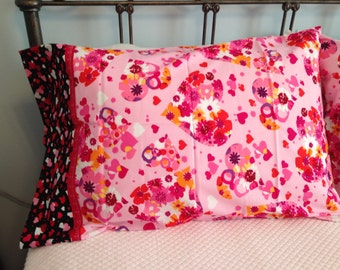 Two Valentine Pillowcases made from the Robert Kaufman Valentine Fabric Line