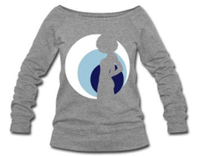 Moonlit Natural Diva Wide Neck Off Shoulder Slouchy Women's Sweatshirt - Heather Gray