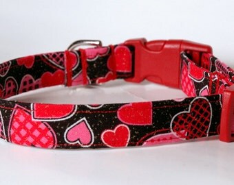 "Handmade  Black w Colorful Hearts Valentine Dog Collar ""New"""