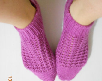 Woman Slippers Pink, Hand Knit Turkish Slippers, Turkish Socks,  Knitted Slippers