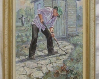 David Aldus Gardening Original painting  artist acrylic art on board  gallery frame  etsy global gift Freight cost extra искусство подарок