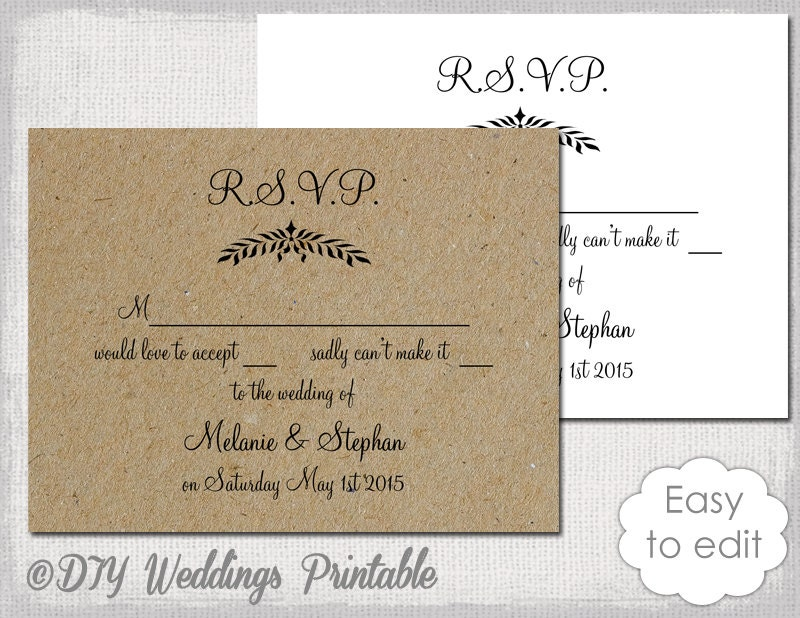 Rustic Wedding RSVP template Leaf Garland
