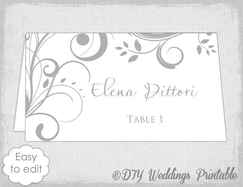 printable place card template gray scroll name