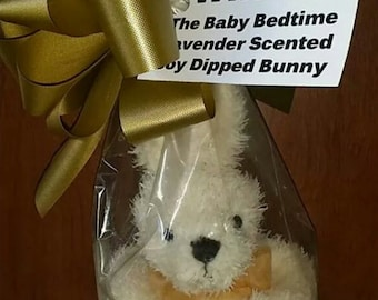 Valentines Day Gifts Scented Bunny in Baby Bedtime Lavender / Dipped In Soy Wax lavender scented bunny for babys room