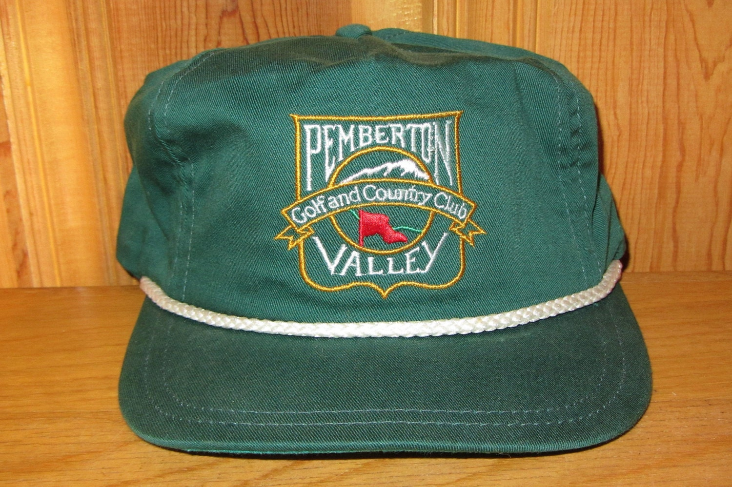 PEMBERTON VALLEY Golf and Country Club Vintage Forest Green Strapback Hat  Rope Lined Golfing Miller Golf Printing Cap Course by Whistler BC 7c0affd20535