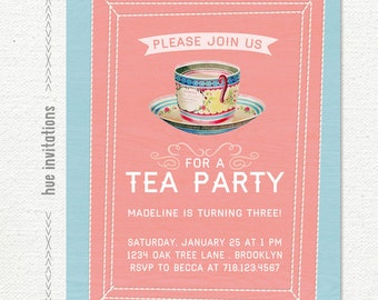 printable tea party invitation, 3rd birthday girls tea party invitation, pink and blue teacup invite, 5x7 jpg pdf digital file 556
