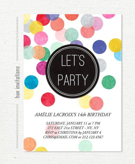 Items similar to 14th birthday party invitation rainbow confetti – 14th Birthday Invitations
