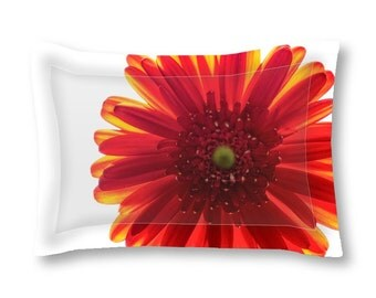 Pillow Sham, Standard or King, Red Bedroom Decor, Macro Photography, Flower Bedding, Decorative Pillow, Unique Bed Pillow, Red and White