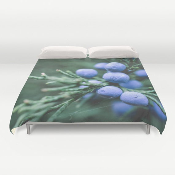 Duvet Cover, Blue and Green, Winter Decor, Juniper Berries, Evergreen Tree, Macro Photography, Nature Images, Unique Bedding, Photo Bedroom