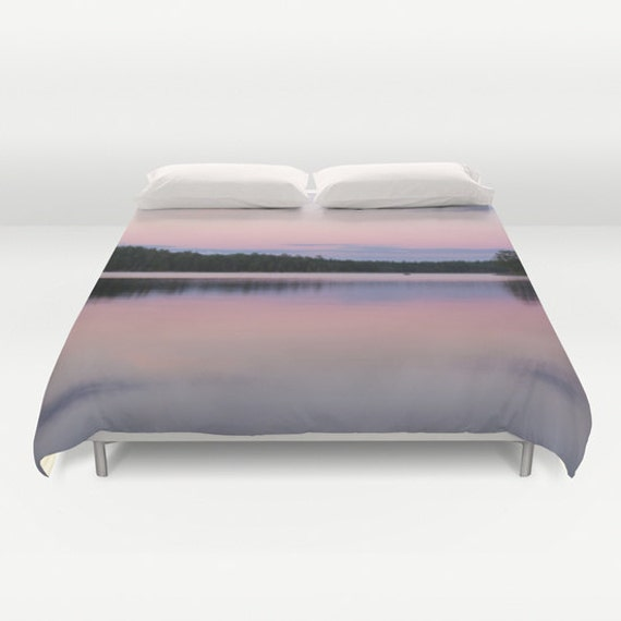 Duvet Cover, Pink and Purple, Sunset Photography, Boundary Waters, Pastel Colors, Bedroom Decor, Unique Bedding, King Duvet, Queen Bedspread