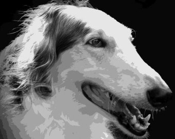 Borzoi Dog Pop Art Paint By Number Art Kit