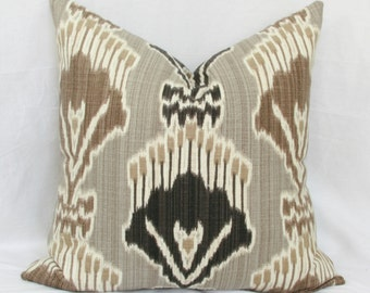 Brown & charcoal  ikat decorative throw pillow cover.