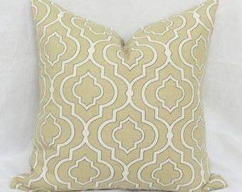"Light tan Moroccan tile pattern decorative throw pillow cover. 18"" x 18""  toss pillow. Accent pillow."