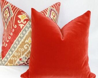 """Burnt orange velvet pillow cover. 18"""" x 18"""". 20"""" x 20"""". 22"""" x 22"""". 24"""" x 24"""". 26"""" x 26"""". lumbar sizes. Robert Allen. Accent pillow."""