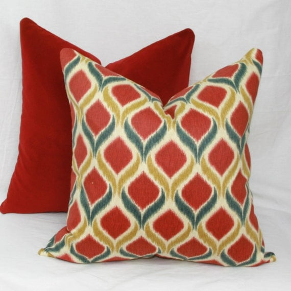 Throw Pillows Red And Gold : Red & gold ikat decorative throw pillow cover. 18 x 18. 20 x