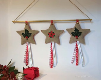 Linen Star Christmas Decoration- Rustic Linen Christmas Ornament- Holiday Decoration
