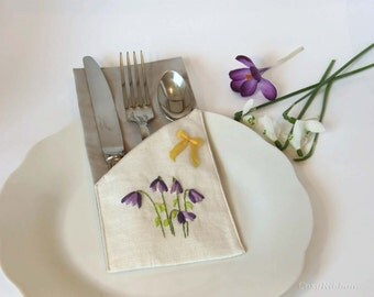 Rustic Flatware Holder-Gift for Her- Country and Rustic Silverware Pocket- Linen and Silk-Flatware Bag Set-Cutlery Bag