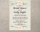 PRINTED or DIGITAL Flower Floral Watercolor Antique Vintage Bridal/Wedding Shower Invitations 5x7 Customized Floral Design 0.82 each