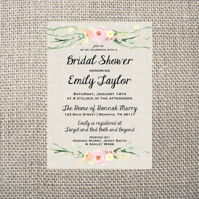 PRINTED or DIGITAL | Flower | Wedding Shower Invitation | Invites ...