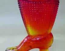 Glass Shoe Toothpick Holder; Amberina, Glass Boot, Glass Shoe, Match Holder, Toothpick Holder, L. E. Smith Glass Company