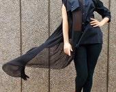 Black Asymmetrical Shirt with Strapless Top, Loose Asymmetrical Shirt, Sheer Blouse, Deconstructed Black Top TT45 by TEYXO
