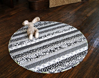 Baby Play Mat, Made for boy or girl, Quilted, Black and White Prints, Lovely! Fabrics may be changed for gender
