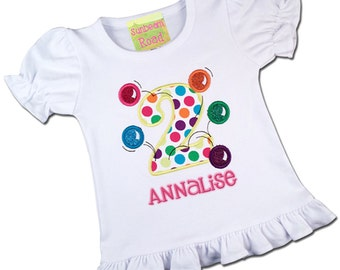 Girl's Birthday Shirt with Bouncing Balls, Number and Embroidered Name