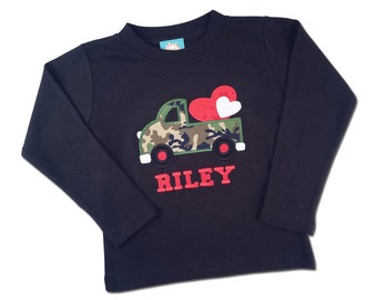 Boy's Valentine Shirt with Camo Truck Hearts and Embroidered Name
