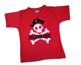 Boy's Big Brother Pirate Birthday Shirt with Name
