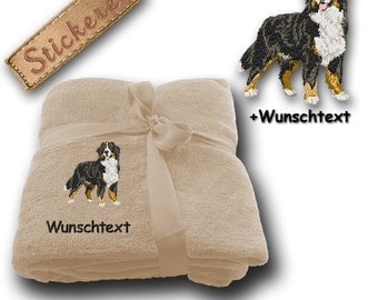 Fluffy Blanket embroidered with BERNESE MOUNTAIN DOG + own text