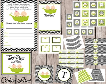 INSTANT DOWNLOAD Printable Two Peas In A Pod Theme Baby Shower Party Package. Twins Baby Shower Party Package. Boy and Girl Twins Shower.