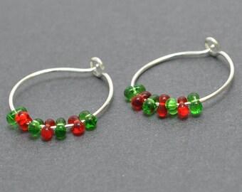 Sterling Silver Hoop,Christmas, Xmas, 20 Gauge, Ear wires, Everyday, Red, Green