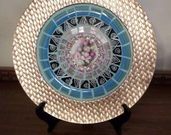 Mosaic Tray - Mosaic Platter - Vintage Black & Gold Melamine Platter with Mosaic Center (Item # 1557)